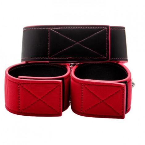 collar y esposas reversibles rojo