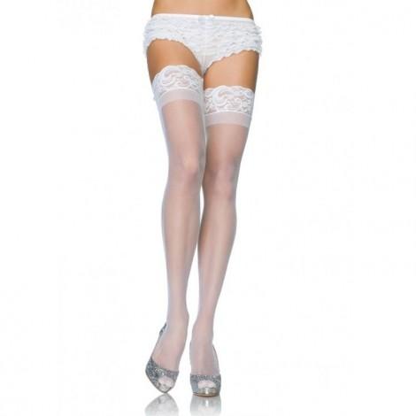 leg avenue medias blancas con silicona y encaje
