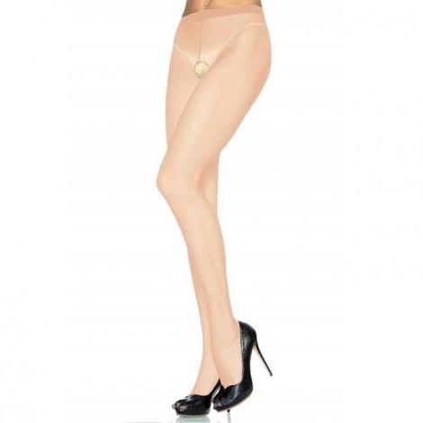 leg avenue panties de nylon con abertura en la entrepierna beige