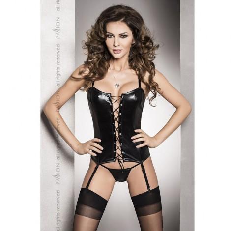 bes corset fetish negro con liguero y tanga